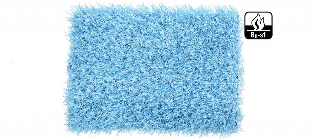 Césped artificial de color azul claro